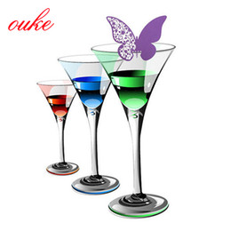 Wholesale White Butterfly Place Cards - Wholesale-New 12pcs Butterfly Place Escort Wine Glass Cup Paper Card for Wedding Party Home Decorations White Blue Pink Purple Name Cards