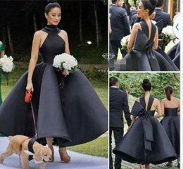 Wholesale Tea Length Empire Bridesmaid Dresses - 2017 New Arrival Sexy Ball Gown Ruffles Cocktail Dresses High Neck Sleeveless Big Bow Prom Evening Gowns Party Dress Tea Length Bridesmaid