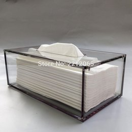plastic acrylic sheets Promo Codes - Wholesale-Facial Acrylic Tissue Box, Tissue Holder, Tissue Dispenser with Magnetic Cover