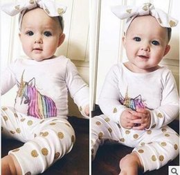 Wholesale Newborn Baby Animal Costumes - 3pcs Unicorn Costume Newborn Spring Fall Baby Clothing Set Toddler Infant Animal Baby Boy Girl Clothes Tops Polka Dot Pants Outfits Set