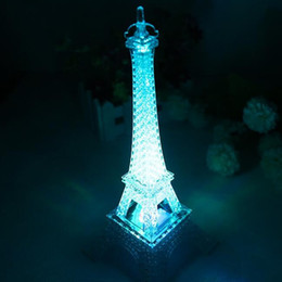Wholesale Decorate Buttons - Gleaming Eiffel Tower LED Night Light One Button Multi Function Control Colorful Glare Romantic Gift Lamp Decorate 6 2zh F R
