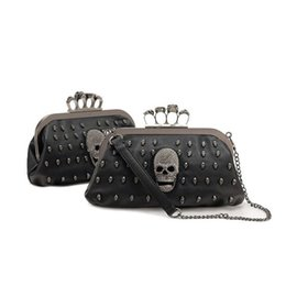 Wholesale Designer Evening Bag Clutch Ring - Fashion 2016 PU leather women skull ring party bag small evening clutch bag ladies designer punk handbag black rivet chain shoulder bags