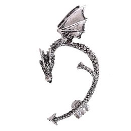 Wholesale gold jade dragon - Gothic Women'S Dragon Shaped Alloy Ear Cuff Earrings Cool Party Jewelry stud Earrings Gifts