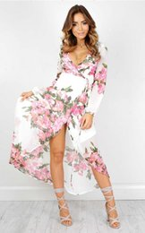 Wholesale Floor Length White Sundresses - 2017 Women Dresses Floral Deep V-Neck Maxi BOHO Summer Long Evening Party Dress Beach Dress Sundress Long Sleeve Sexy