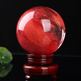 2019 holz zigarre fall 48-55 mm rot Kristallkugel rot Schmelzstein Kristallkugel Kugel Kristall Heilung Handwerk Hause Docoration Kunst Geschenk