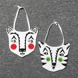 Wholesale Tiger Bib - 2 styles cartoon INS Tiger Print 100% Cotton bibs Burp Clothe Newborn KIDS Double Layers Animal Print Bibs