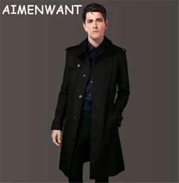 Wholesale Men England Coat - Wholesale- Men's Clothing 2017 Single Breasted Long Trench Coat Male Slim Fit Khaki Coat Trench uk Personal Size Custom-tailor Coat as Gift