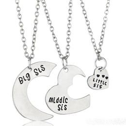 Wholesale Little Girls Gold Necklace - Split heart pendant necklaces Friends Necklace big middle little jewelry for girls chrismas gift hot whosale
