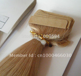 """Wholesale Blonde Glue Hair Extensions - Wholesale- 18"""" 20"""" 22"""" 24"""" 100g pack PU tape Glue Skin Weft Hair Extensions 100% Indian Remy Hair black brown blond 008"""