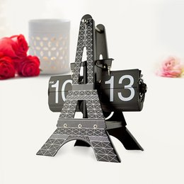 Wholesale Bracket For Led - Eiffel Tower Digital Bracket Clocks Quartz Analog Home Decor Desktop Battery Operated Lazy Snooze Silent Alarm Sleep Clock For kids gift