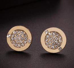 Wholesale Circular Studs - Europe Style Fashion Circular Earrings Rhinestone Crystal High Quality Ear Stud for Women Jewelry