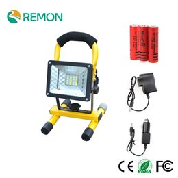 Wholesale Portable Rechargeable Spotlight - Wholesale-Rechargeable Portable Spotlight LED Floodlight 24led Movable Outdoor Camping Light Grassland + 3*18650 Battery + Charger