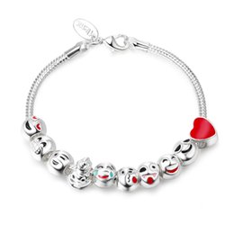 Wholesale Silver Smile Charms - New Cute Enamel Emoji Bracelets for kids Smile Beads Charms Bracelets & Bangles for Women DIY Pulseras Jewelry SL80