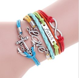 Wholesale Wholesale Fashionable Charm Bracelets - 2017 New Color 8 character faith boat anchor love hand-knitted leather bracelets fashionable bright beautiful women's jewelry free shipping
