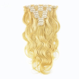 Wholesale Blonde 28inch - Brazilian Remy hair Clip-in Full Head Human Hair Extensions Body Wave Blonde Color 613 9pcs Set 120G 14-28inch