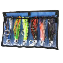 Wholesale Bait Rigging - Octopus Skirts Trolling Lures Saltwater Tuna Marlin Wahoo Trolling Skirt Lures with Stainess Steel Hook and Swivel Rigged Leader Hook and Ba