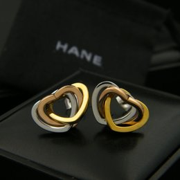 Wholesale Titanium Jewelry For Women Earrings - Fashion carter Stud Earrings 18K gold plated Titanium Steel Semicircle Classical Love Earrings For Women Piercing Jewelry