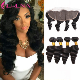 Wholesale Wholesale Lace Frontals - Grade 7A Raw Indian Virgin Hair Loose Wave With Frontal Ear to Ear Closure Remy Human Hair Bundles With Lace Frontals Curl Weave