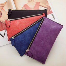 Wholesale Polish Holder - 2017 New Zipper Wallets Women Lady dull polish Long Clutch Bag Coin Purse Card Holder 12colors