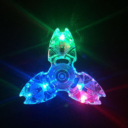 Wholesale Led Finger Light White - Triangle Crab Fidget Spinner Clear Led Light Crystal Gyro Hands Spinners ABS Plastic Flash Finger Toy High Quality 5 8hs B