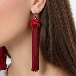 Wholesale Hanging Tassels - New Braided Tassel Earrings Fashion Brand Yellow Black Red Fringes Gold Drop Earrings brincos de gota feminino Hanging Earring