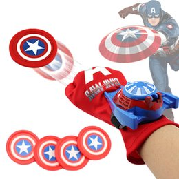 Wholesale Hulk Cosplay - Spiderman Glove Laucher Props Superhero Captain America Hulk Ironman Avengers Boys Kids Party Cosplay Glove Prop Toy Xmas Gifts