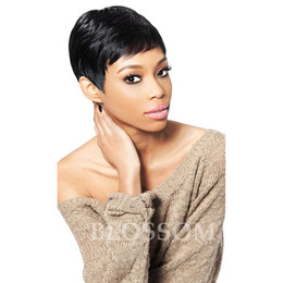 Wholesale Very Cheap Indian Hair - Hot Sell Cheap Pixie Cut Human Very Short Hair Wigs With Bangs Top 8A Brazilian Human Wigs Hair For Africa Americans