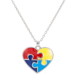 Wholesale American Meaning - Special Design Unique Meaning Heart Shaped Autism Awareness Puzzle Piece Autistic Pendant Link Chain Necklace Jewelry