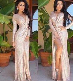 Wholesale Cheapest Sequin Long Dress - Cheapest Rose goldlong sleeves deep V knotted open fork women dress