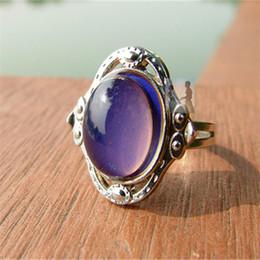 Wholesale Gem Adjustable Rings - New fashion design mood ring hot change color Palace restoring ancient ways gem adjustable rings for women Wholesale 100pcs lot