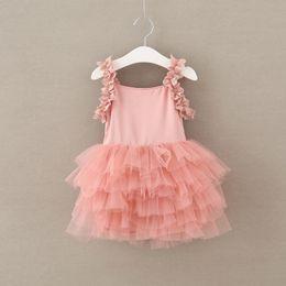 Wholesale Floral Gauze Dress - Sweet Girl 2017 Princess Dress Sleeveless Lace Flower Tutu Suspender Dress Kids Clothing Girls Gauze Dresses Girl TUTU Dresses Pink A6307