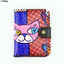 Wholesale Handmade Leather Coin Purse - Wholesale- Short wallet!Lovely color printing coin purse, high quality PU leather women clutch purse, hasp wallet Handmade wallets