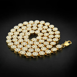 Wholesale China Hip Hop Jewelry - MEN'S 1 ROW Cluster Chain ICED OUT YELLOW GOLD PLATED HIP HOP CZ MEN CHAIN NECKLACE JEWELRY