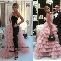 Wholesale Short Strapless One Shoulder Dress - Unique Design Black Straight Prom Dress 2017 Couture High Quality Pink Tulle Tiered Long Evening Gowns Formal Women Party Dress