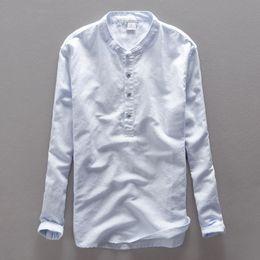 Wholesale Chinese Shirts For Men - Wholesale- High End Brand Linen Men Shirt Long Sleeve Men Casual Shirts Flax dress shirt for men Business Chinese collar handmade button