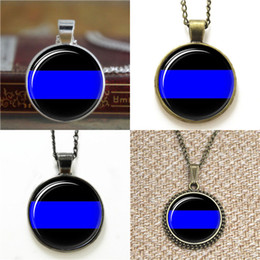 Wholesale thin chain link necklace - 10pcs Thin Blue Line Glass Photo Necklace keyring bookmark cufflink earring bracelet