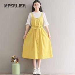 Wholesale Spaghetti Strap Tank Dress - Women Summer Dress Solid Color Sleeveless Spaghetti Cute style strap dress Loose Cotton Linen Tank Dress