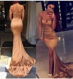 Wholesale One Shoulder Rose Lace Dress - New Gold Rose Off Shoulder Long Prom Dresses Sexy Mermaid Side Split Evening Dresses Wear Cheap Formal Floor Length Party Gowns