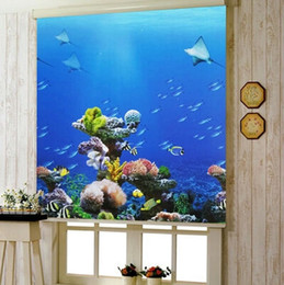Wholesale Vertical Blinds Fabrics - Wholesale-Anti-UV blinds waterproof colorful drawing blue sky dolphin finished roller blind 3615