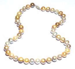 Wholesale Multi Strand Silver Pearl Necklace - New Fine Pearls Jewelry Genuine Beautiful Natural Multi Colors 9-10mm Round Pearl Necklkace 18-20inches 925 silver