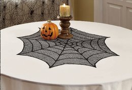 Wholesale Wholesale Lace Round Tablecloths - halloween decoration Black Lace Tablecloth Spider Web Round 30inch lace table cover 6pieces 6pcs happy halloween