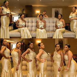 Wholesale Royal Groups - South African Mermaid Bridesmaid Dresses 2017 Elegant One Shoulder Lace Appliques Floor Length Wedding Guests Gowns Arabic Bridesmaid Group