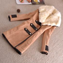 Wholesale women outwear fur rabbit - Wholesale- 2016 new autumn winter long sleeved faux rabbit fur collar wool coat outwear women slim overcoat free shipping