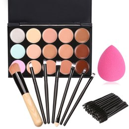 Wholesale Disposable Make Up Sponges - Wholesale- 59pcs Set Concealer Palette +50PCS Disposable Eyelash Brushes + 7 Makeup Brushes + Sponge Cosmetic Set beauty Make Up Set $k