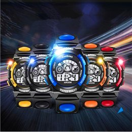 Wholesale Water Clocks Wholesale - Multi-function Children's Watch Boys Girls LED Digital Electronic Wristwatch Luminous Alarm Clock Calendar Water-resistant Watches For Kids