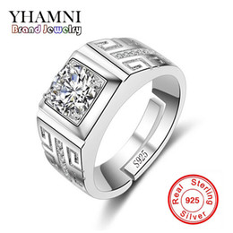 Wholesale Real Silver Finger Ring - YHAMNI Original Real 925 Sterling Silver Rings for Man Wedding Engagement Ring Fashion Diamond Jewelry Men Finger Ring NJZ002