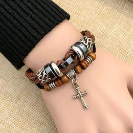Wholesale Dropship Beads - Charms Leather Bracelets for Men Cross Hot Sale 6 Styles Fashion Weaving Design Wood Bead Adjustable Bangle Luxury Jewelry 1PCS Dropship