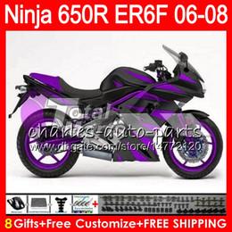 Wholesale Kawasaki Er6 - 8Gifts 23Colors Body For KAWASAKI NINJA 650R ER6F 06 07 08 Ninja650R Gloss purple 20HM26 ER 6F 06-08 ER6 F ER-6F 2006 2007 2008 Fairing Kit