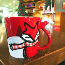 Wholesale Starbucks Bone China Cups - Genuine 2016 Christmas series Starbucks Red Fox Mug 12oz ceramic cup Jungle Fox Coffee cup Xmas New Year gift