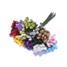 Wholesale Made Artificial Flowers - Wholesale- CCINEE 12Colors Bundle Artificial Flower Stamen Flower Leaves Stamen Make With 5mm Pearl Foam Glass Stamen For DIY Decoration